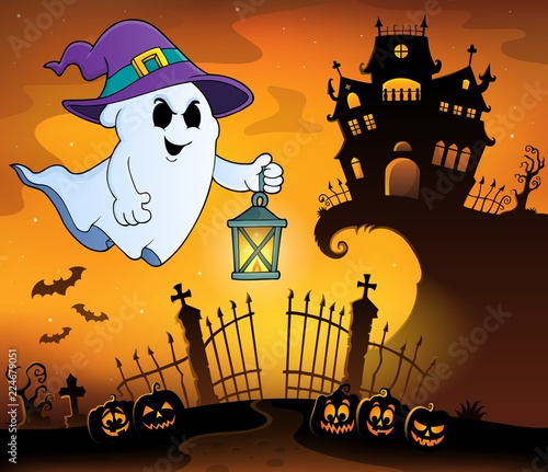 Poster Voor kinderen Ghost with hat and lantern topic 1