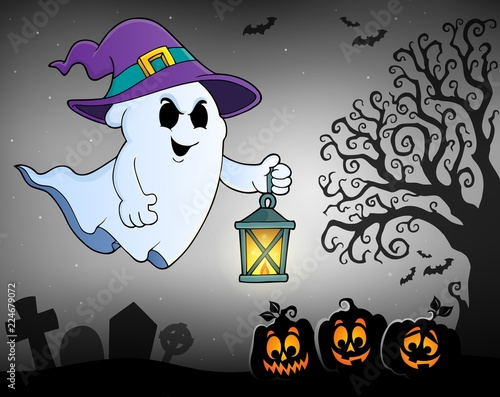 Poster Voor kinderen Ghost with hat and lantern topic 2