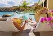 Couple on vacation in luxury resort