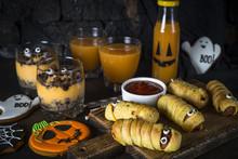 Halloween Food Assortment - Sasage Mummies, Pumpkin Dessert, Gin