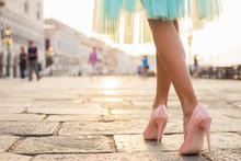 Woman Walking In High Heel Sho...