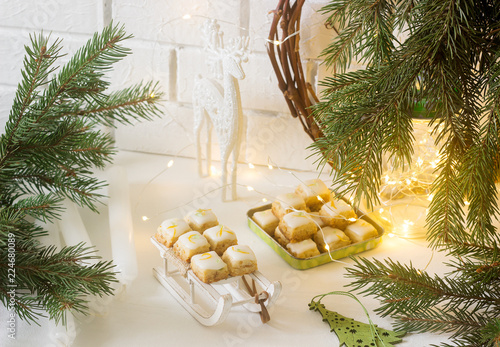 Tuinposter Koekjes Christmas cookies ginger cubes in festive decoration. Rustic style.