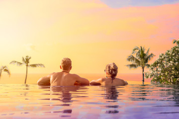 Couple on vacation in tropical resort