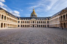Paris, France - August 13, 2017. Court Of Honor In Palace Les Invalides, Or National Residence Of The Invalids Courtyard. Complex Of Museums And Monuments Relating To Military History Of France.