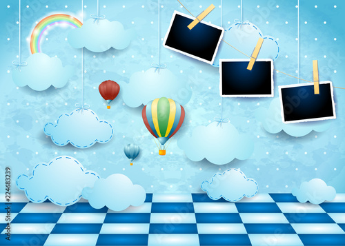 Foto op Canvas Lichtblauw Surreal landscape with clouds, floor, balloons and photo frames