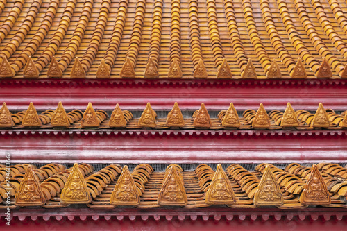 Deurstickers Bedehuis Decoration in wat Benjamaborpit or marble temple in Bangkok, Thailand.