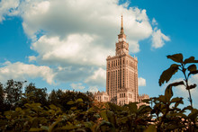 View Of The Palace Of Culture And Science In Warsaw On A Sunny Day. The Urban Landscape