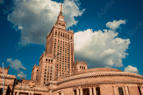 Fototapeta View of the palace of Culture and Science in Warsaw on a sunny day. The urban landscape obraz