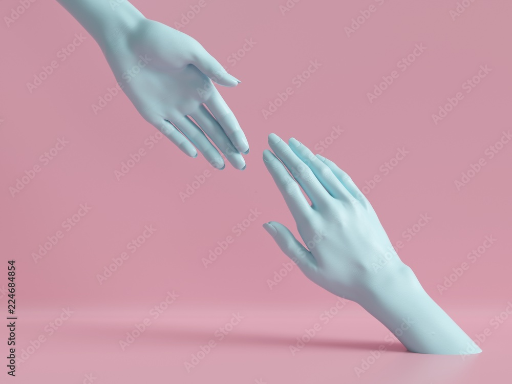 Fototapety, obrazy: 3d render, female hands isolated, minimal fashion background, mannequin body parts, helping hands, partnership concept, pink blue pastel colors