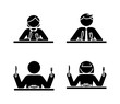 Stick figure eating icon set. Breakfast, lunch, dinner black and white pictogram