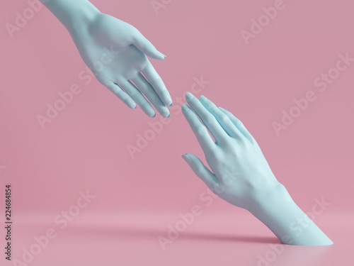 Obraz 3d render, female hands isolated, minimal fashion background, mannequin body parts, helping hands, partnership concept, pink blue pastel colors - fototapety do salonu