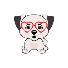 Card Of A Valentine S Day. Pug Dog In A Striped Cardigan, In A Fun Pink Heart Glasses. Vector Illustration.