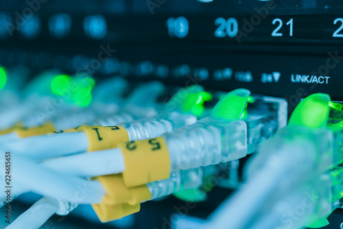 Fotografie, Obraz  server room with lan wiring system plug and router hub