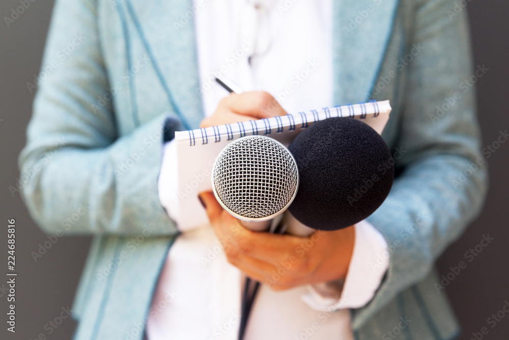 Fototapeta Female journalist at news conference, writing notes, holding microphone
