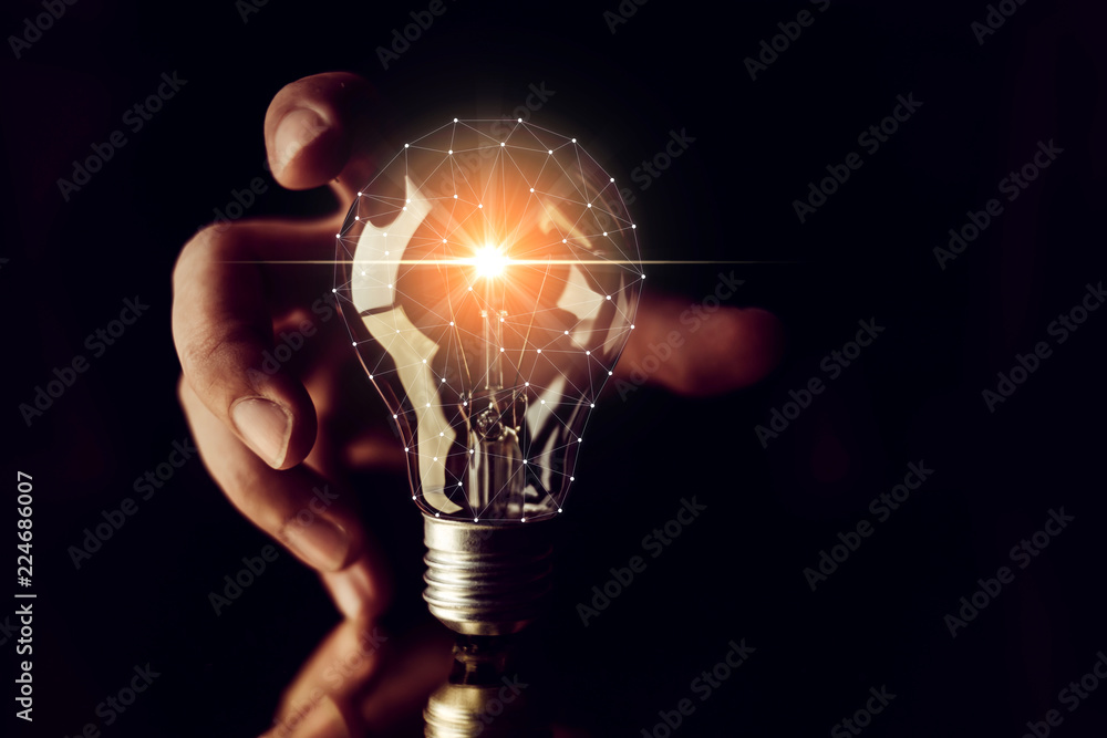 Fototapety, obrazy: man hand choose glow light bulb creativity business ideas concept black background