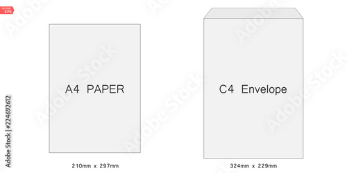 C4 Blank Mockup White Letter Paper Envelope Vector Template Of A4 A5 C5