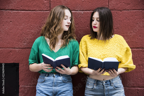 Fotografie, Obraz  Two lovely hipster woman are standing against a red wall with books in their hands