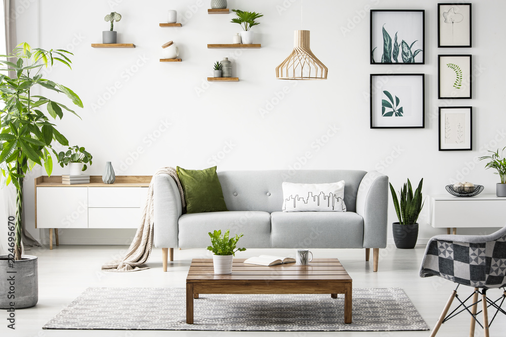 Fototapety, obrazy: Flowers on wooden table in front of grey sofa in scandi flat interior with posters and armchair. Real photo