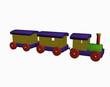 Hölzerne Lokomotive mit Anhängern