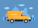 Vector cartoon delivery van with deliveryman
