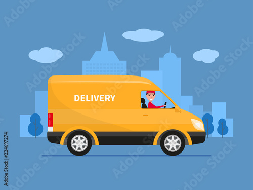 Vector cartoon delivery van with deliveryman Wallpaper Mural
