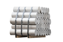 Heap Of Aluminium Bar On Wooden Pallet, Aluminum Ingots Isolate On White Background