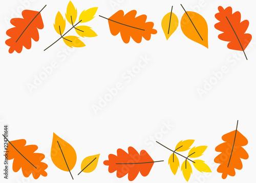 Fényképezés Autumn leaves border background