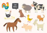 Fototapeta Fototapety na ścianę do pokoju dziecięcego - Set of cute farm animals. Horse, cow, sheep, pig, duck, hen, goat, dog, cat, cock. Cartoon vector hand drawn eps 10 childrens illustration isolated on white background.