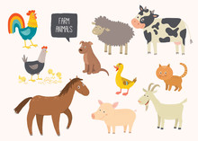 Set Of Cute Farm Animals. Hors...