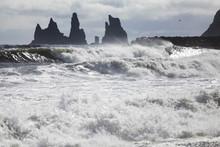 Large Ocean Waves At Vik Black Sand Beach In Iceland