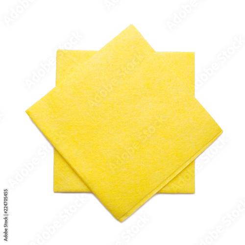 Fototapeta top view of yellow Kitchen towel or napkin isolated on white background obraz