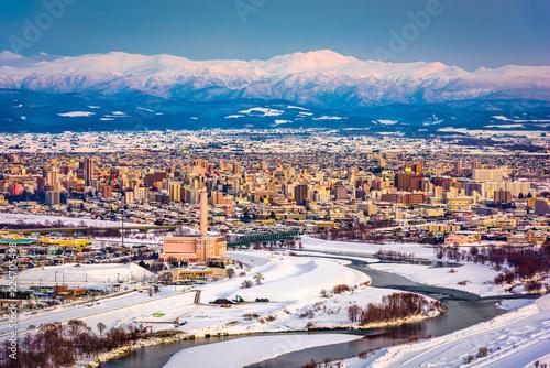 Asahikawa, Japan winter cityscape in Hokkaido.