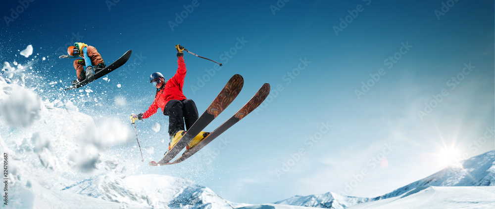 Fototapety, obrazy: Skiing. Snowboarding. Extreme winter sports