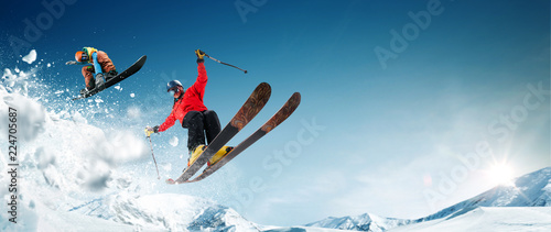 Photo  Skiing. Snowboarding. Extreme winter sports