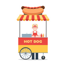 Mobile Hot Dog Cart With Seller. Vector Illustration In Flat Style Isolated On White Background