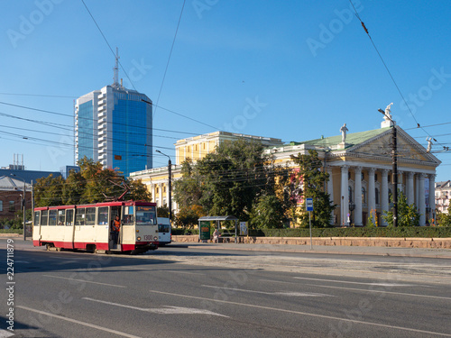 In de dag Theater View to the Chelyabinsk city center with a tram on foreground. View to the Theatre of Opera and Ballet
