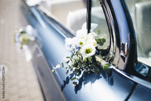 Fototapety, obrazy: Vintage blue American car decorated for wedding