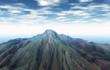 Vulkankegel unter blauem Himmel