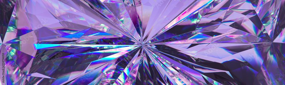 Fototapety, obrazy: 3d render, abstract amethyst crystal background, faceted texture, purple gem macro, panorama, wide panoramic polygonal wallpaper