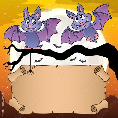 Fotobehang Voor kinderen Small parchment and cartoon bats