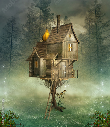 Fantasy bizarre house in a foggy forest