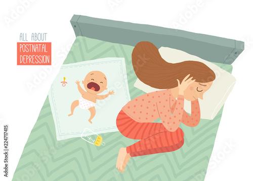 Obraz Postpartum depression. Postnatal depression. Baby s blues. Cartoon vector hand drawn eps 10 illustration isolated on white background. - fototapety do salonu