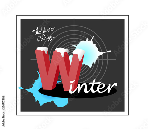 Illustration of letters and target, winter theme. Text