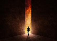 Man In Front Of Open Door With Universe Behind