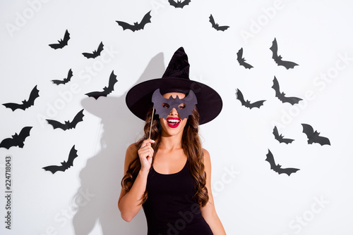 Trick or threat Close up portrait of cheerful woman with curly Tableau sur Toile
