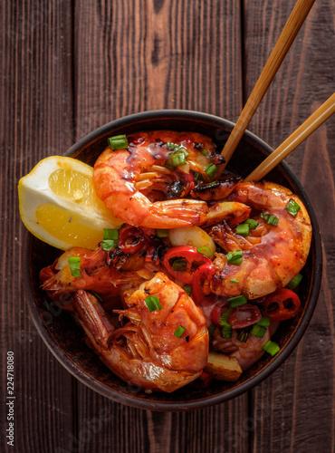 Fried Prawns with pepper, garlic and lemon. Mediterranean cuisine. Asian cuisine. Top view