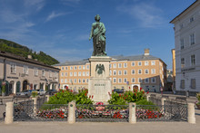 Wolfgang Amadeus Mozart Monument Statue At The Mozartplatz Square In Salzburg, Austria.