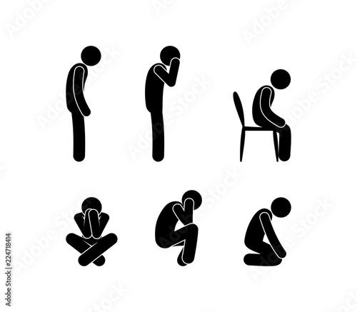 Photo sad people stand and sit, illustration of depression, stick figure man symbol, p