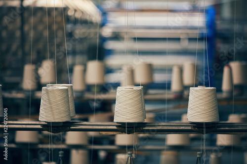 Obraz na plátne Dyeing fabrics yarn in dyeing farm production