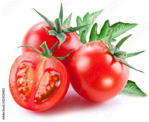 Two cherry tomatoes and a half of tomato. White background.